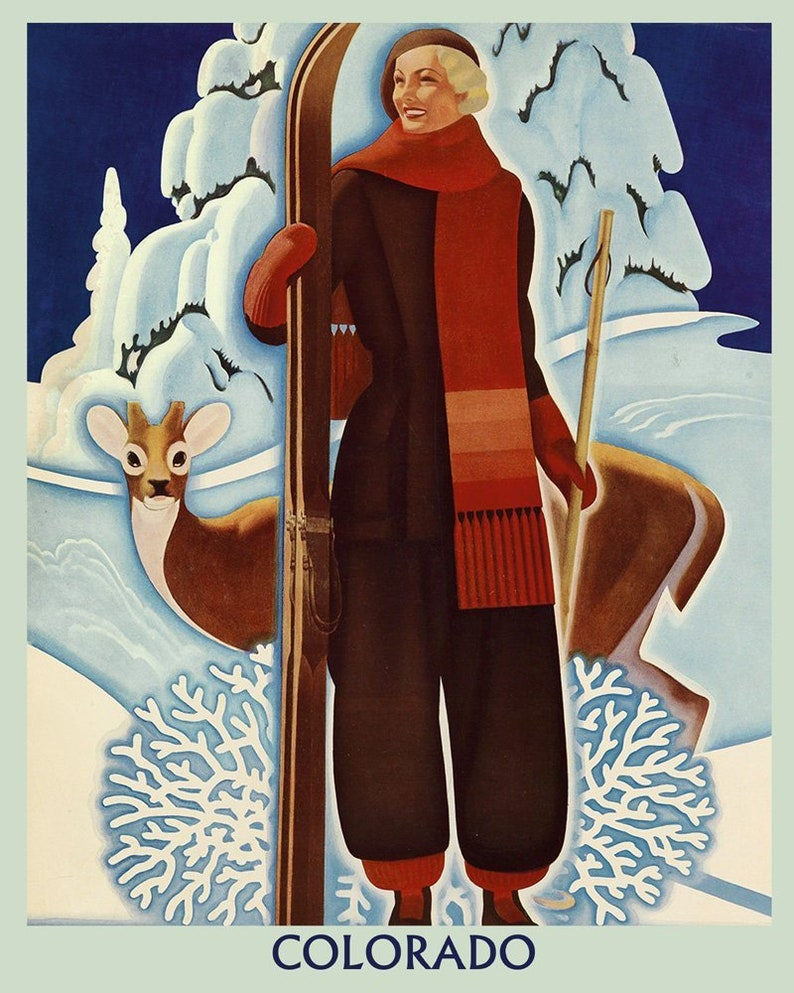 Ski Mountains of Vermont American USA Winter Sport Vintage Poster Repro FREE SH
