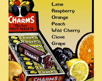 Candy Baltimore Lemon Butter Lime Peach Cherry Charms Vintage Poster Repro FREE SHIPPING in USA