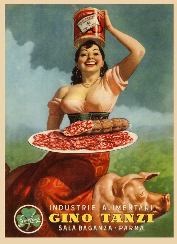 Prosciutto Riding Pig Pork Food Olida Restaurant Vintage Poster Repro FREE S//H