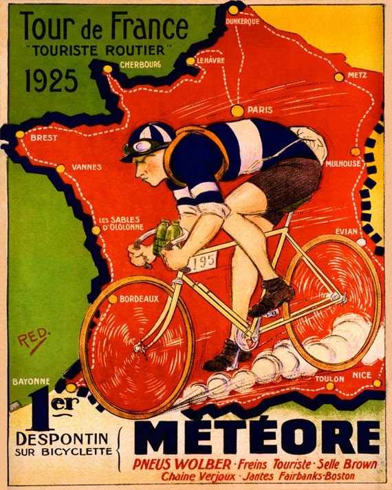 """1925 Tour de France Bike Meteore Bicycle Cycle 16/"""" X 20/"""" Vintage Poster FREE S//H"""