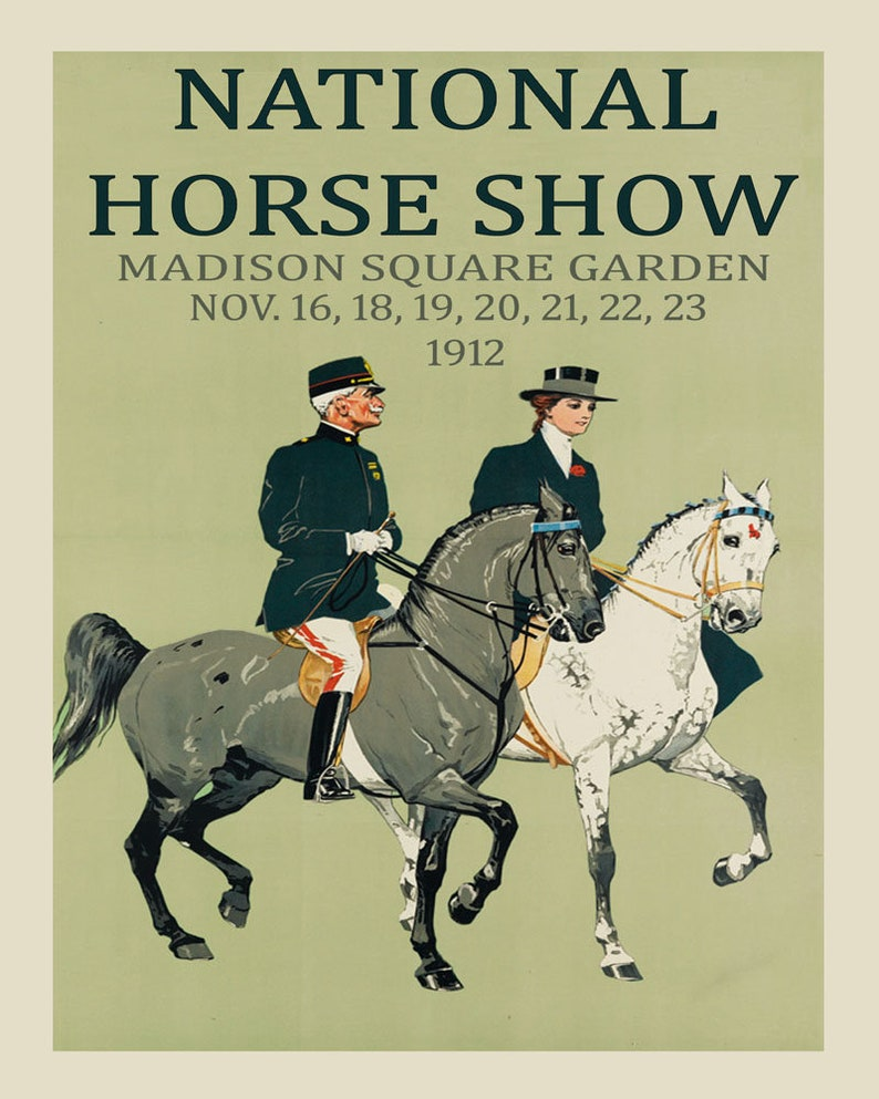 Horse Show Madison Square Garden New York Dressage Vintage Poster Repro  Shipped Rolled Up FREE SHIPPING in USA