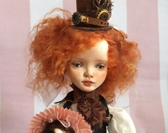 OOAK Polymer Clay Art Doll Boudoir Doll  Steampunk Alice in Wonderland