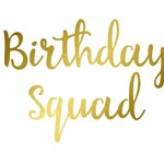 Birthday Squad - Iron On Decal - Matte Heat Transfer Vinyl -  36 Color Choices - DIY B-day Party Shirt Decals - Font: Sunflower
