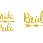 Bride and Bride Tribe with Heart Arrow - Glitter or Matte Iron-On Decals - Heat Transfer Vinyl - DIY Bridal - Bachelorette Party Shirts