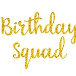 Birthday Squad - Iron-On - Heat Transfer Vinyl -Bulk Discount - Many Matte or Glitter Colors - DIY Bday Party Shirts - Font: Sunflower