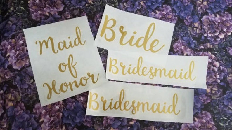 Bridal Party  Iron On Decals  Wedding  36 Matte Heat image 0