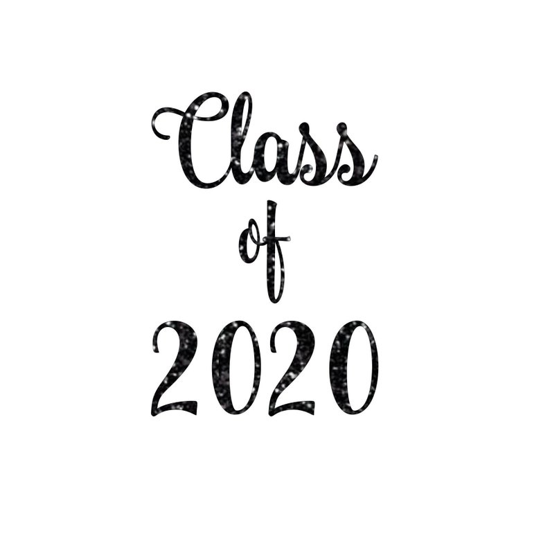 Class of 2020 or any year Matte & Glitter Heat Transfer image 0