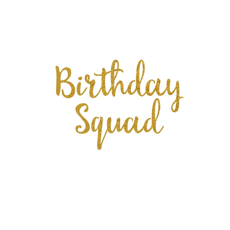 Birthday Squad  Iron On Decal  Glitter Heat Transfer Vinyl  image 0