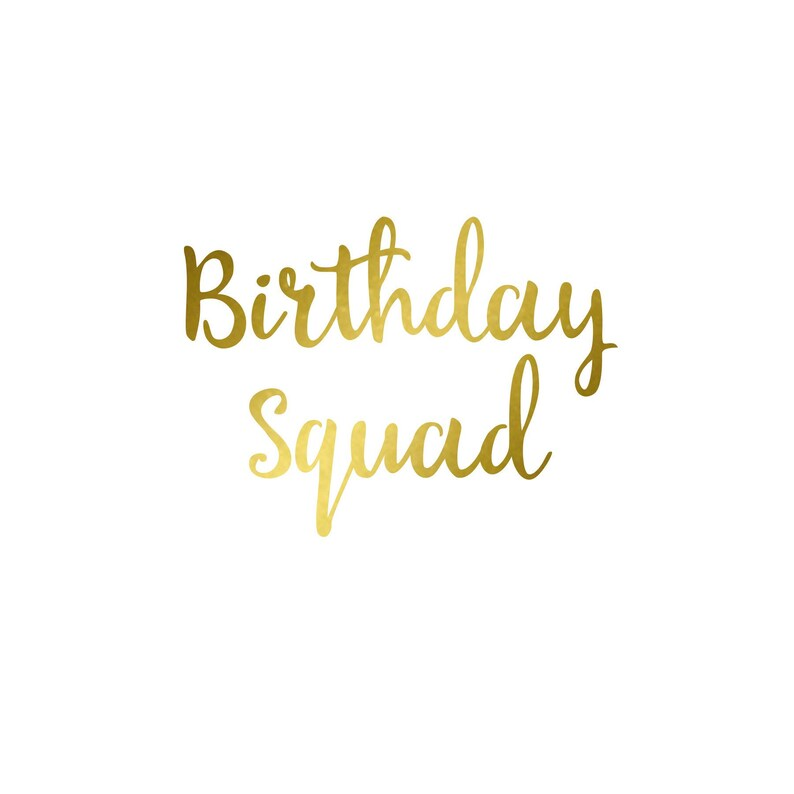 Birthday Squad  Iron On Decal  Matte Heat Transfer Vinyl  image 0