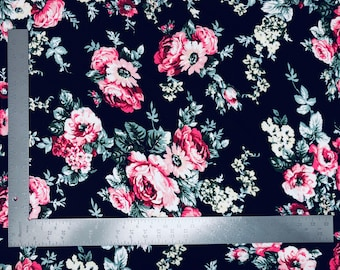 Liverpool Knit Floral Print Fabric by the yard