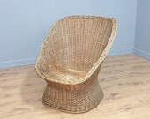 Mid Century Wicker Tub Chair Retro Chic Large Cane Seat