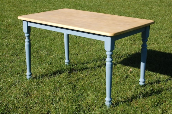 Pine Rectangular Country Kitchen Table, Up-cycled Painted & Waxed Dining  Table