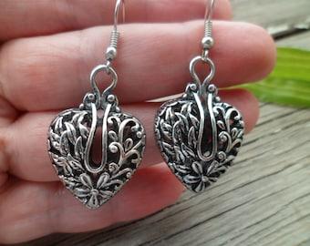 Large Antique Tibetan Silver Earrings -  Silver Plated Filigree Earrings - Ethnic Earrings - Boho Earrings - Hippie Earrings