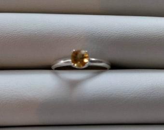 Golden Citrine silver ring
