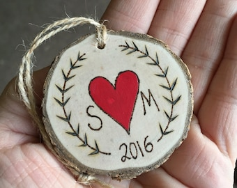 Personalized couples ornament, Christmas holiday ornament, wood burning ornament, wedding gift, anniversary gift, Valentine's gift