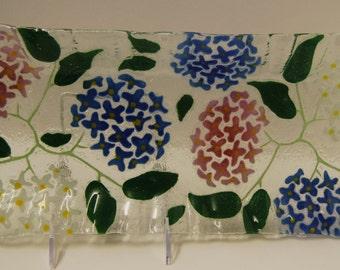 Multicolored hydrangeas art glass tray