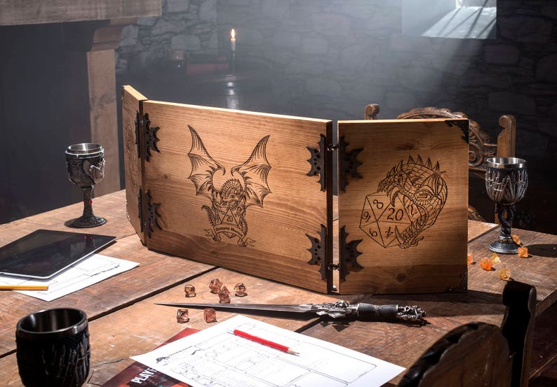 Wooden Dungeon Master Screen RPG Games Table Top Games image 1