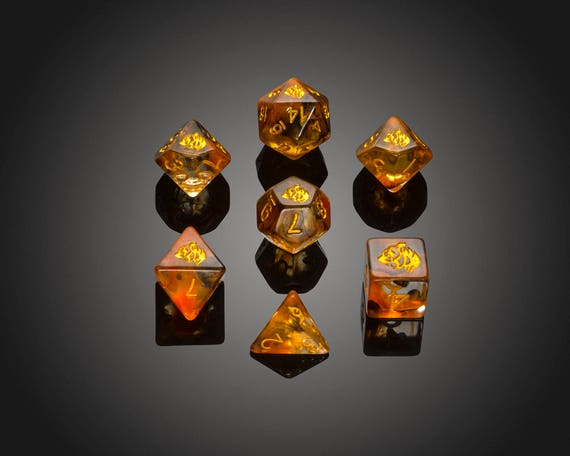 Critit Crit It Spirit Of Fox Series 2 Poly 7 Dice RPG Set Orange White 5e D/&D DM