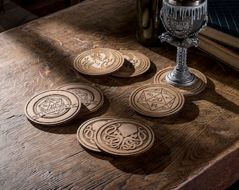 Set of 2 Fantasy Coasters, Pathfinder Drink Coasters, Wooden Coasters, Game Coasters, Dragon Lovers Gift, Engraved Coasters