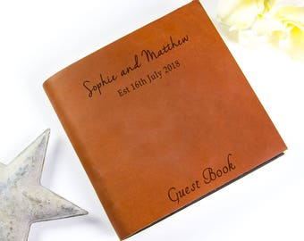 Personalized Leather Guest Book - two sizes available