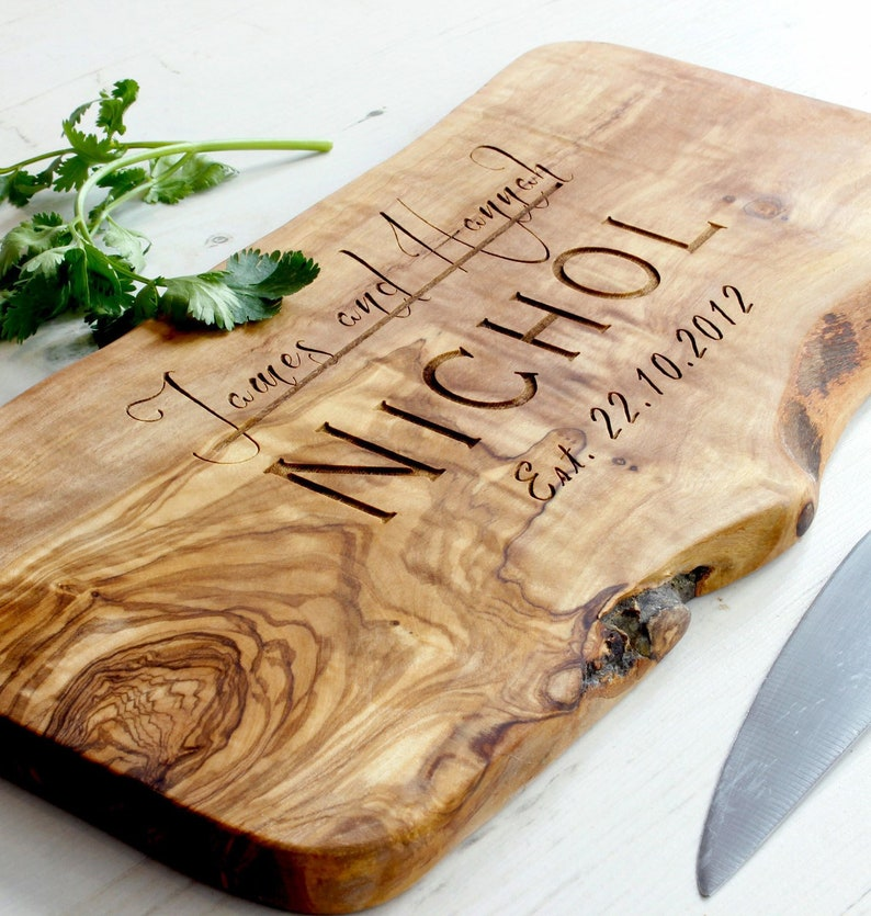 Personalized Rustic Wooden Chopping Cutting Cheese Board  11.8 x 5.9 x 0.8