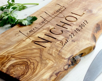 Personalized Rustic Olive Wood Chopping/Cutting/Cheese Board - available in five sizes
