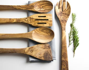 Traditional Olive Wood 5 Piece Kitchen Utensil Set   Cooking Utensils   Wooden Utensils   Sustainable Wood   Wooden Kitchenware   Home Gift