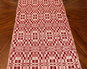 Red and White Table Runner Hand Woven