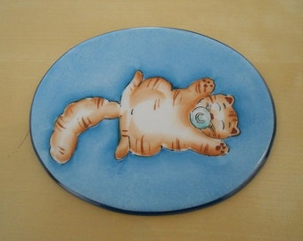 "Porcelain plate ""with kitten pacifier"""