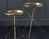 NEST OF TABLES - Brass Folding tray tables