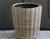 Rattan Large Planter with plastic Liner 44 cm Height