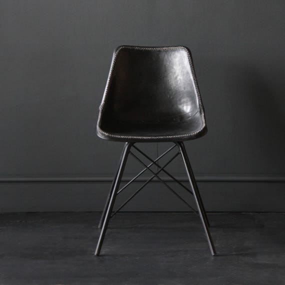 Groovy Industrial Retro Cool Charles Eames Inspired Dining Cafe Chair On Cross Legs Black Leather Seat With Black Steel Tubing Leg Pabps2019 Chair Design Images Pabps2019Com