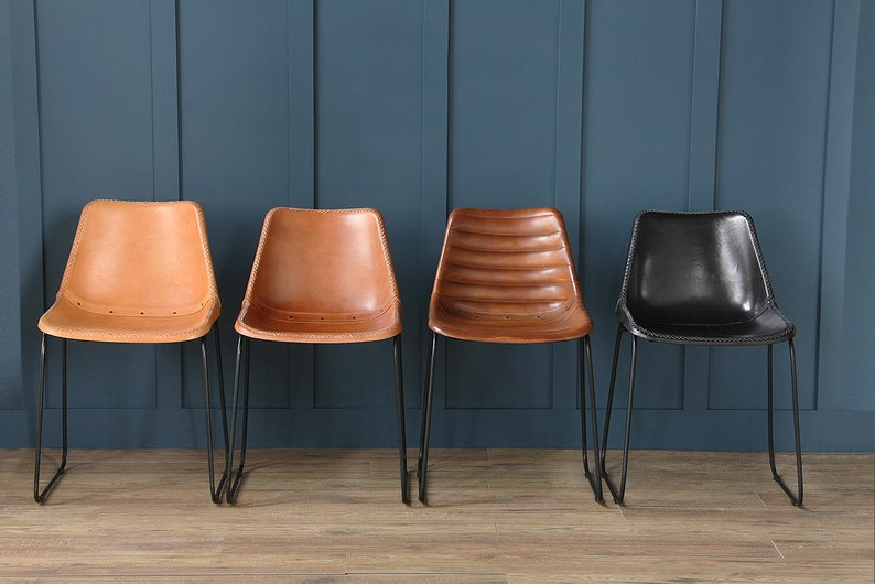 Etsy & Road House Deluxe Industrial Retro leather Dining Chairs Honey Tan Black Brown now available