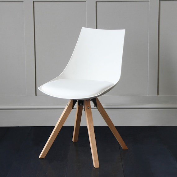 White Acrylic Dining Chair with Padded Seat and Wood Leg