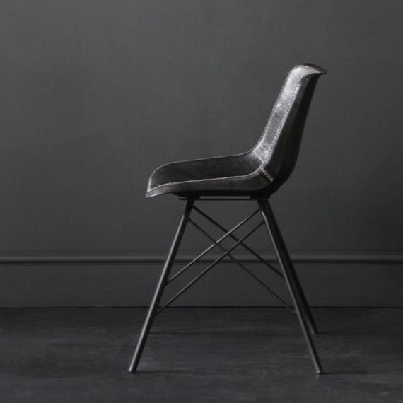 Super Industrial Retro Cool Charles Eames Inspired Dining Cafe Chair On Cross Legs Black Leather Seat With Black Steel Tubing Leg Pabps2019 Chair Design Images Pabps2019Com
