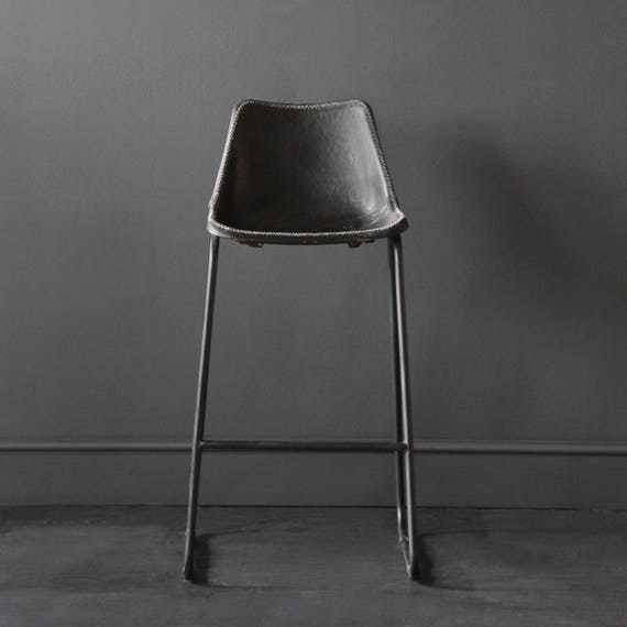 Terrific Industrial Bar Stool Road House Black Bar Stool Leather Seat Machost Co Dining Chair Design Ideas Machostcouk