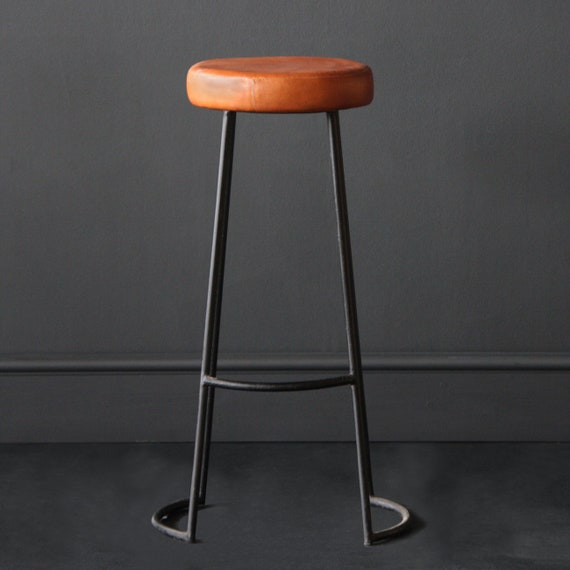 Fine Tapas Industrial Bar Stool With Tan Leather Seat Black Steel Leg Cafe Kitchen Bar Stool Machost Co Dining Chair Design Ideas Machostcouk