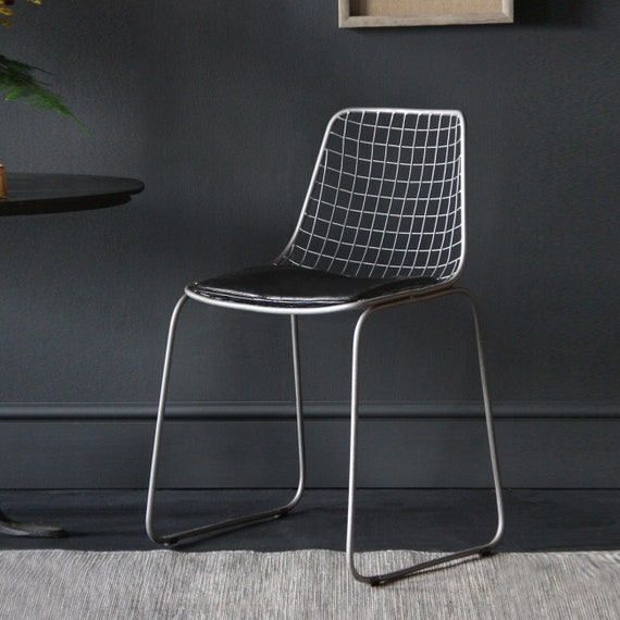Astounding Industrial Retro Wire Chair With Black Leather Seat Pad 1950S Inspired Dining Chair Pabps2019 Chair Design Images Pabps2019Com