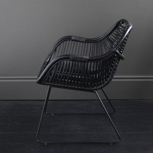 Black seat and Black Metal Legs with Two low arms Rattan Conor Accent Chair