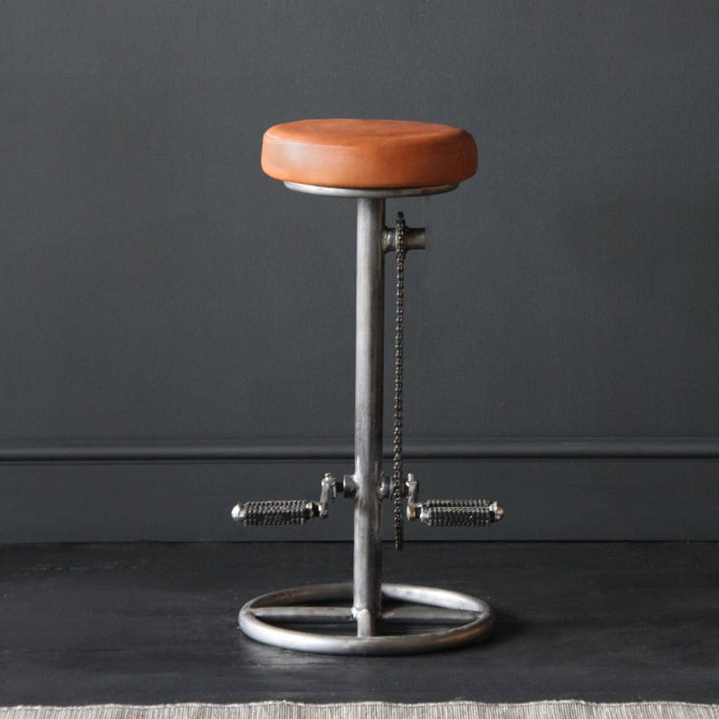 Marvelous Pedal Stool Industrial Retro Bar Kitchen Counter Stool With Leather Seat Pdpeps Interior Chair Design Pdpepsorg