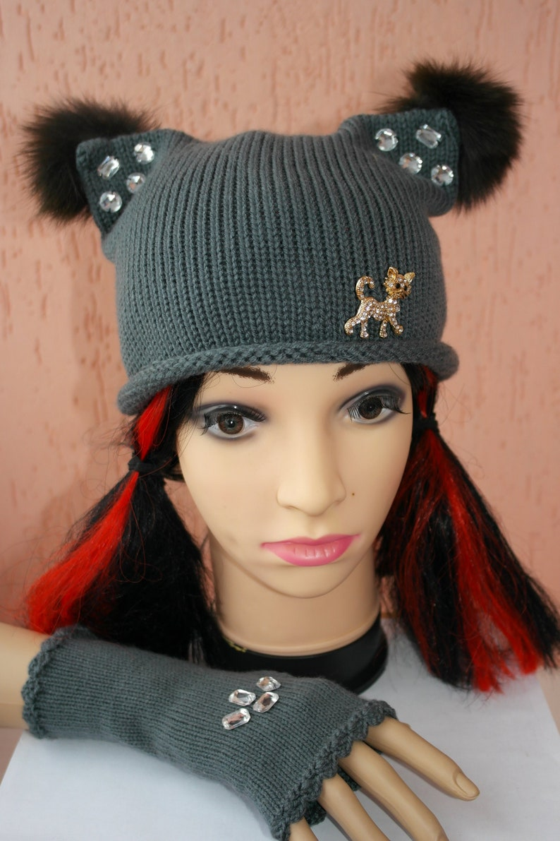 dc42dc565c3 Knitting Hat and mittens Cat Ears adult size brooch Cat Hat