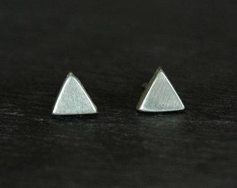 Small 925 Sterling Triangle Studs Earrings EARNUTS INCLUDED