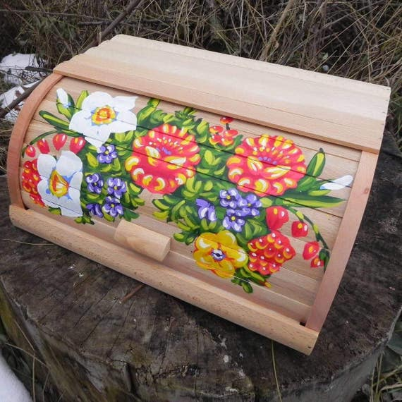 brotkasten aus holz brotkasten blumen brotkasten gemalt etsy. Black Bedroom Furniture Sets. Home Design Ideas