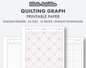 Quilting graph paper set, English, instant download, printable template, A4