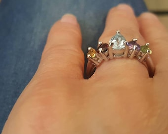 A silver ring with colorful zircons size 15, jewelry, rings