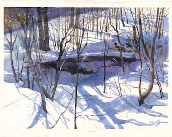 Snow scene print,  snow in a forest, Winter scene, Winter watercolor print, Winter forest print, 13 x 18 inches, Fallen tree, blues, grays