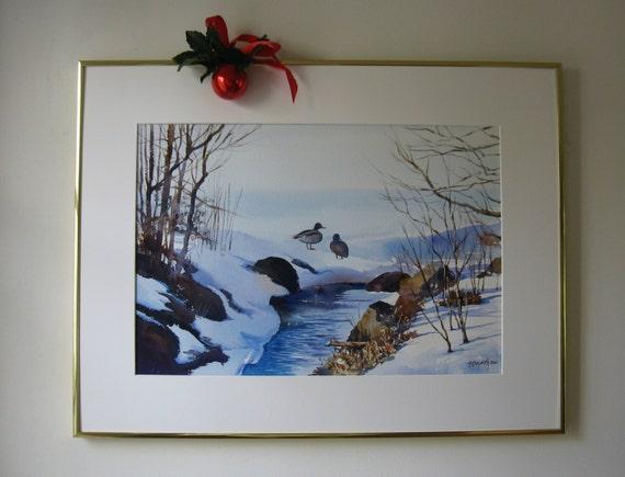 Rockland Lake LIght blue snowy landscape tan winter painting 11 x16 inch print Watercolor landscape ducks duck painting dark blue