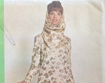1968 McCall's Pattern 1054 Pauline Trigere DRess and Hood