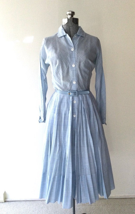 1950s Claire McCardell Blue Plaid Shirtdress