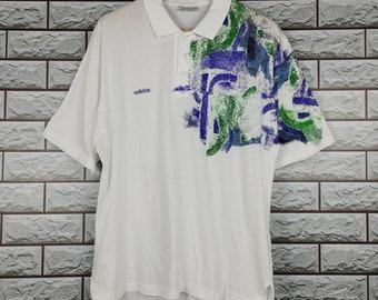 8439985d5ed4e7 ADIDAS Tennis Polos Shirt Large Vintage 80s 90s Adidas Tennis Ivan Lendl  Tennis T-Shirt Size L XL